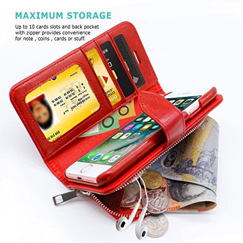 iPhone 8 / iPhone 7 Funda ZUSLAB [Detachable Zipper] 2 en 1 Carcasa Billetera en Cuero Sintético, Funda extraíble, Carcasa plegable cartera Con Cierre de botón de metal, Tarjeta Bolsillo Cubierta, Ran Vino Tinto