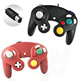 Reiso 2 Packs NGC Controllers Classic Wired Controller for Wii Gamecube(Red and Black)