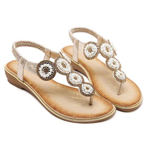 Ruiren Women Casual Rhinestone Flat Sandals,Summer Beach Flip-Flops Shoes for Ladies Gold