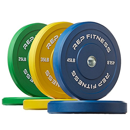 Rep Color Bumper Plates for Strength and Conditioning Workouts and Weightlifting, 210 lb Set (Olympic Bumper Weight Set)