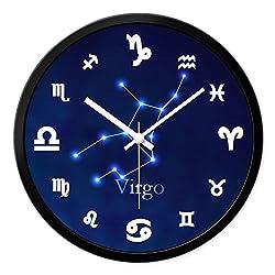 SHOP YJXA 12 Constellation Wall Clock Silent Scanning Wall Clock Round Clock Living Room Bedroom Clock Quartz Clock Wall Clocks (Color : Virgo, Size : 12 inches)