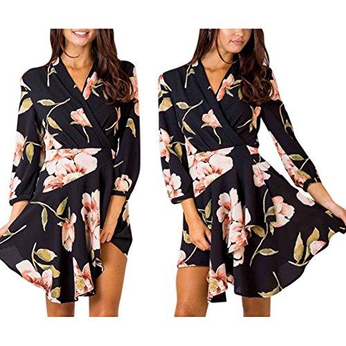 危機好奇心サラダRaiFu ワンピース 花柄 レディース ファッション カジュアル ドレス チャーミング 長袖 ドレス ショート丈 おしゃれ