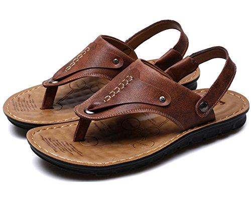Vocni Mens Öppen Tå Casual Läder Bekväma Skor Sandaler Män Öppen Tå Sandaler Brun