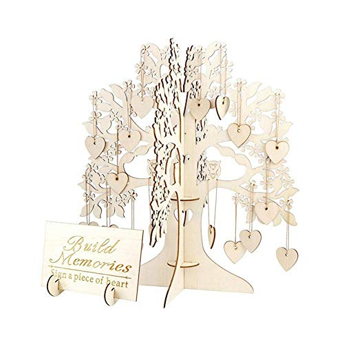 Beautly Wedding Guest Visit Sign Book 3D Tree Wooden Rustic Hearts Pendant Drop Ornaments Party Decoration ()