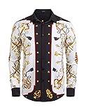 COOFANDY Men's Long Sleeve Luxury Design Print Dress Shirt Casual Button Down Shirt for Party,Wedding,Banquet,Prom,Nightclub