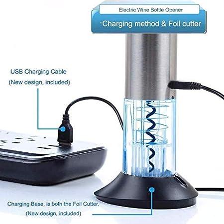 YSYPET Wine Opener Kit Sacacorchos eléctrico Set Conservación del vino Wine Stopper Pourer, Foil Cutter, Vacuum Stopper (Silver)