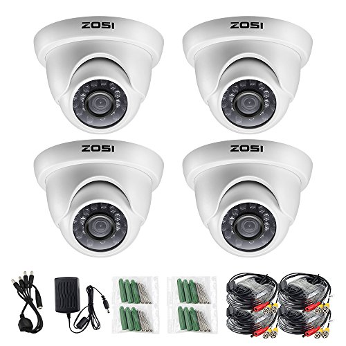 ZOSI 4 Pack 1/3″ 1000TVL HD IR Cut CCTV Dome Home Security Cameras Kit Surveillance Indoor Outdoor Day Night Vision White