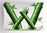 Ambesonne Letter W Pillow Sham, Bamboo Branches Forming Letter W Zen Spa Themed Alphabet Typeset Green Leaves, Decorative Standard King Size Printed Pillowcase, 36 X 20 inches, Green White