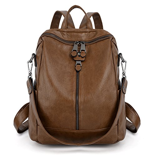 UTO Women Backpack Purse PU Washed Leather Convertible Ladies Rucksack Zipper Pockets Earphone Hole Shoulder Bag Brown by UTO (Image #3)