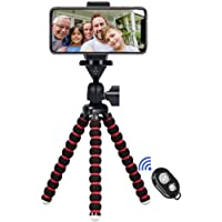 Phone Tripod, 7.48 inch Travel Portable and Adjustable Camera Stand Holder with Wireless Remote and Universal Clip for…