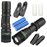 2x Tactical Zoom LED 2500Lumens Ultra Bright Flashlight Focus Lamp Torch with 3 Mode &18650 Battery +Charger For Hunting