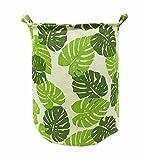 Songsongstore Large Foldable Laundry Hamper Bag Storage Bin Leaf Green Deal (Small Image)