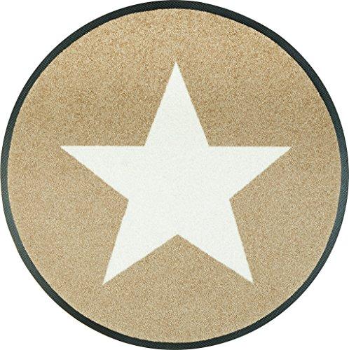 wash + dry 076032 Fußmatte Stars, rund, Durchmesser 75 cm, sand