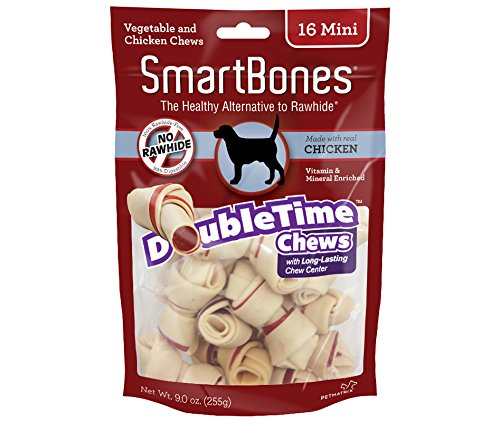 SmartBones DoubleTime Chicken Dog Chew Long Lasting Rawhide Free Mini 16Pack 923048