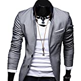 Verypoppa Men's Stand Collar Slim Fit Suit Blazer Jackets Tops (US L / CN...