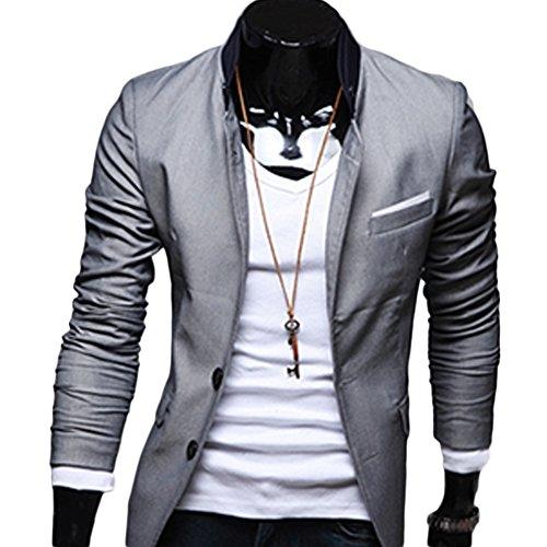 Verypoppa Menu0027s Trendy Two-Button Closure Solid Slim Cotton Blazer (L, Gray)