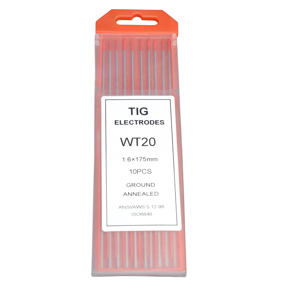 Rstar Tig Welding Tungsten Electrodes 2% Thoriated 1/16' x 7' (Red, WT20) 10-Pack Rstar Welding equipment manufacturing co. LTD wt20 1/16*7