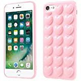 BubbleGum® iPhone 7 Case LOVE HEARTS Pretty Soft Gel Case Cover with Genuine Bubblegum (iPhone 7, Light Pink)