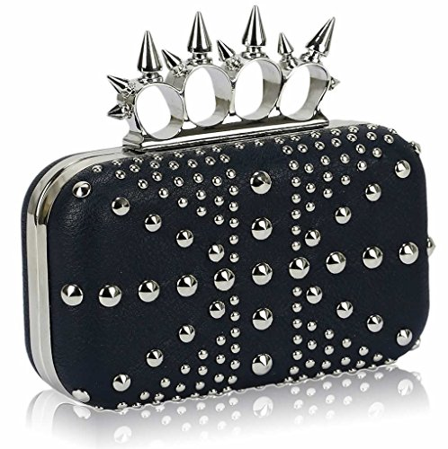 Wedding Prom Jack Diamante STUDDED For Women's NAVY Handbags Union Evening Crown Clutch LeahWard Purse CLUTCH Studded FPS7nw