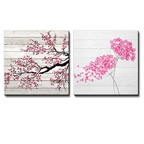 Illustration of a Branch of Cherry Blossoms Along with Pink Flowers Being Blown Away Over White Wooden Panels