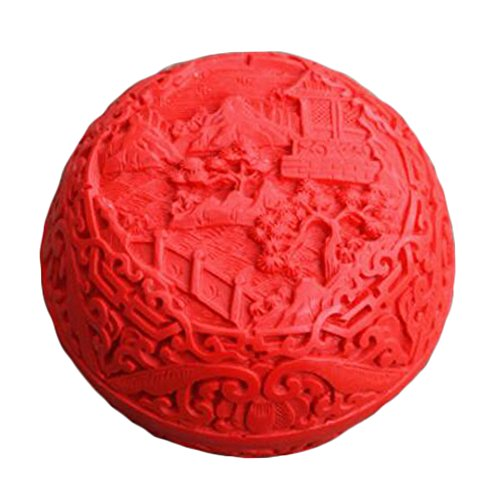 Kylin Express Chinese Traditional Carved Red Lacquer Mini Jewelry Box Treasure Chest Case, ()