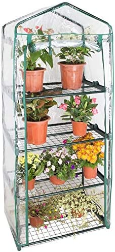 Rocky Mountain Goods 4 Tier Mini Greenhouse with Shelves – Outdoor Indoor Greenhouse with Zippered Access Door – Easy No Tools Required Assembly – Heavy Duty Frame Shelves