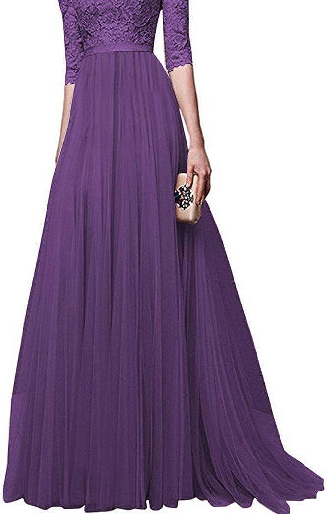MAMOIU Women Lace Floor Length Pleated Dress Wedding Cocktail Ball Gown Dresses Purple