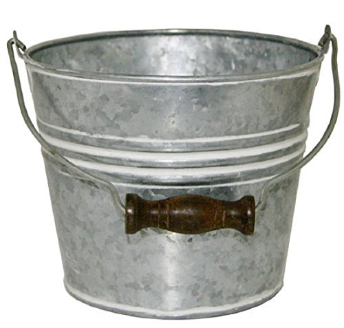 Banded Wood (Vintage-Themed Banded Round Bucket Metal Planter - with wooden handle, drainage hole, galvanized - 6