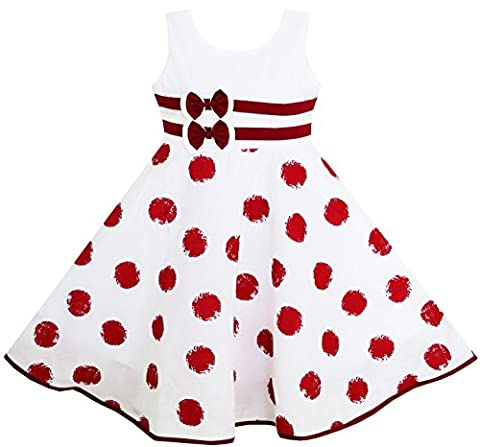 HW61 Girls Dress Wine Red Polka Dot Circle Print Double Bow Tie Size 4 - Circle Print Tie