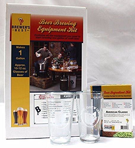 Home Brew Ohio One gal Equipment And Ingredient Kit-American Classic with 2 Pint Glasses