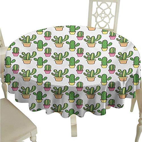 - Willsd Waterproof Tablecloth Cactus Vases and Pots with Flowers Cute Cartoon Drawing Colorful Summer Plants Design Table Decoration D50 Suitable for picnics,queuing,Family