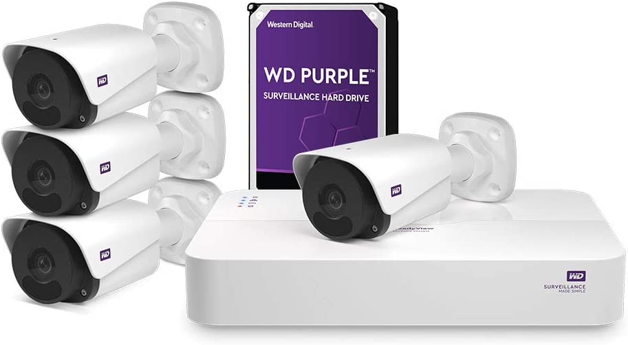 WD ReadyView 4MP Surveillance System- 1520p HD, 4TB WD Purple HDD, PoE, NVR, IP67-rated, 4 Cameras, Motion Detection, Night Vision – WDBELL0040HWT-HESN