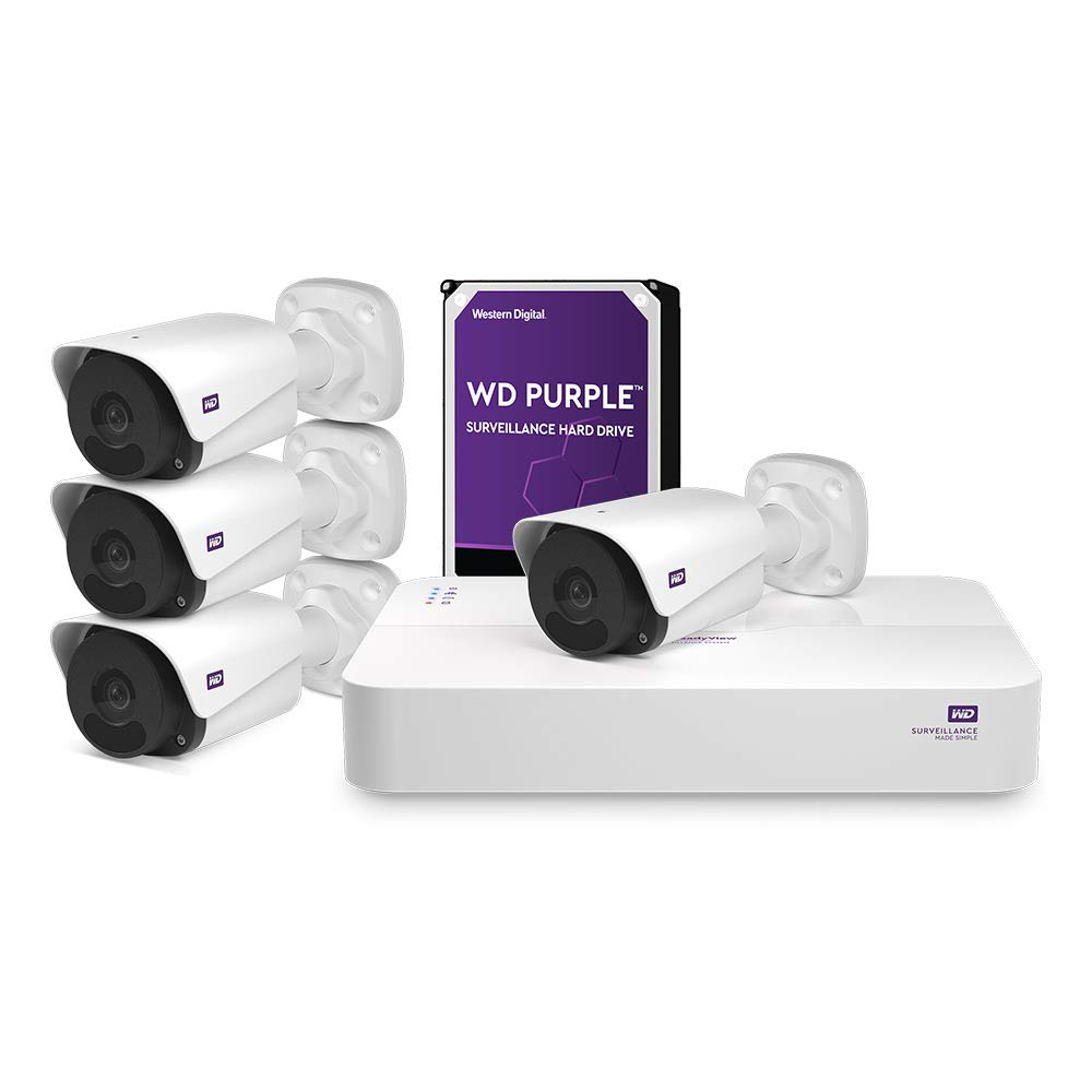 WD ReadyView 2MP Surveillance System- 1080p HD, 2TB WD Purple HDD, PoE, NVR, IP67-rated, 4 Cameras, Motion Detection, Night Vision – WDBULT0020HWT-HESN