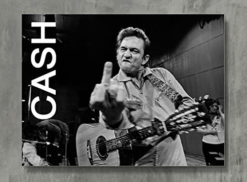 Johnny Cash Poster - Cash Canvas Print Classic Rock Wall Art Posters Print Standard Size 18x24 Inches
