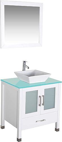 QIERAO 30″ Freestanding Wooden Modern Bathroom Vanity Ceramic Sink Vessel Set Bathroom Mirror Included White