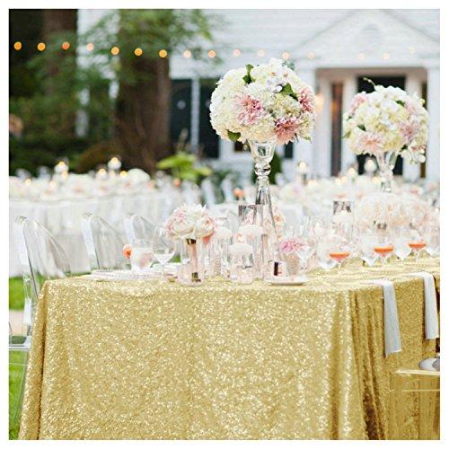 purple-sequin tablecloth-rectangle lentejuelas rojas mesa paño/Lino para fiestas decoración, dorado ( A + Gold ), 1
