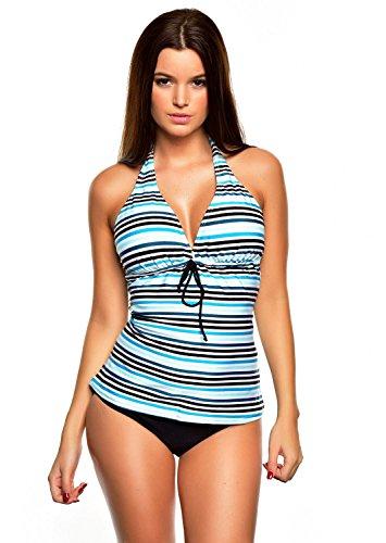 shape-optimizer Push Up Tankini Bañador diseñado por pulpo f3957–�?094AS Blue striped, Panties Black