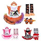 FYMNSI Baby Girls 1st Halloween Costume Fancy Skull Pumpkin Romper Tutu Dress Headband Leg Warmer Shoes Outfit