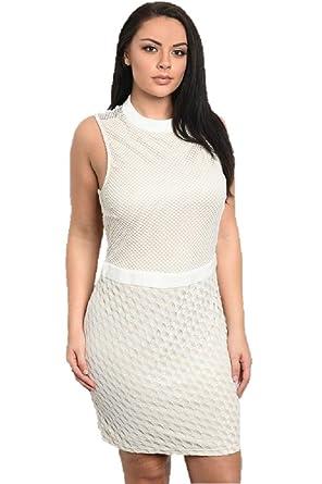 1166e7a72a9b0 ASA Fashions Boutique Mesh White Sleeveless Plus Size Special ...