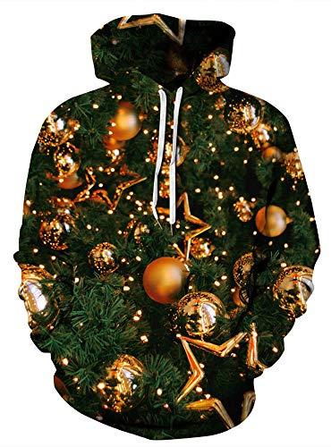 Gold Kangaroo Hoody Sweatshirt - GLUDEAR Couple 3D Christmas Balls Print Ugly Christmas Tree Kangaroo Pocket Sweatshirt Hoodies Pullover,Green,S/M