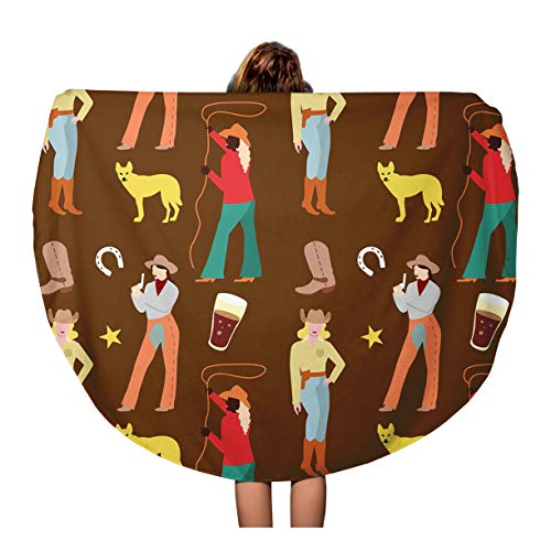 - Pinbeam Beach Towel Vintage American Cowgirls Woman in Cowboy Retro Attractive Travel 60 inches Round Tapestry Beach Blanket