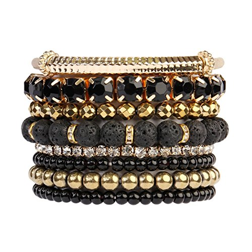 RIAH FASHION Multi Color Stretch Beaded Stackable Bracelets - Layering Bead Strand Statement Bangles ([S-M] Lava Gold) - Gold Bead Bracelet Bangle