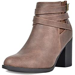 2d963a37f951 TOETOS Women s Chicago-03 Brown Faux Leather Pu Chunky Heel Ankle Boots Size  8 M