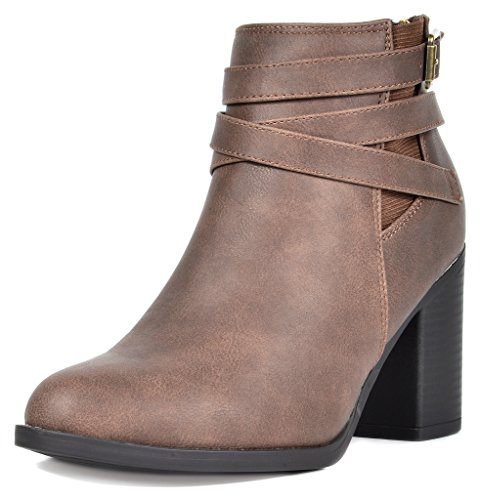 (TOETOS Women's Chicago-03 Brown Faux Leather Pu Chunky Heel Ankle Boots Size 9.5 M US)