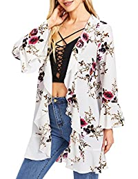 Women's Floral Cardigan Kimono Beach Cover up Loose Blouse