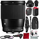Sigma 16mm f/1.4 DC DN Contemporary Lens for Sony E with 72 Monopod, Sturdy Tripod, Xpix Camera Cleaning Kit, and Deluxe Bundle