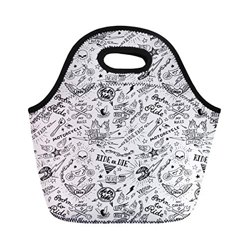 Semtomn Neoprene Lunch Tote Bag Old Vintage Traditional Tattoo Biker School Moto American Doodle Reusable Cooler Bags Insulated Thermal Picnic Handbag for Travel,School,Outdoors,Work
