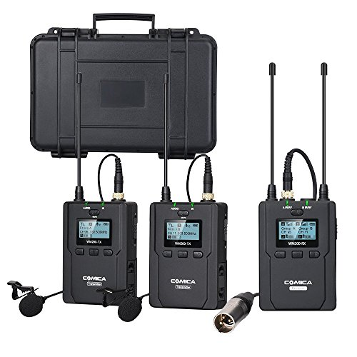 Comica CVM-WM200(A) 96-Channel Full Metal UHF Professional Wireless Dual Lavalier Microphone System for Canon Nikon Sony Panasonic D/SLR Camera,XLR camcorder & Smartphone (394-Foot Range)(2TX+1RX) ()