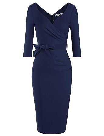 2df5b4b0409c7 MUXXN Women's Classic 3/4 Sleeve Knee Length Formal Bridesmaid Midi Dress  (Blue S