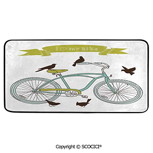 (Rectangular Area Rug Super Soft Living Room Bedroom Carpet Rectangle Mat, Black Edging, Washable,Bicycle,I Love My Bike Concept with Birds on The Seat Cruisers Basic,39